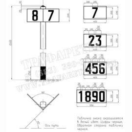 Комплект трафаретов для нанесения цифр на Путевой километровый знак (местный), 200 мм, ПЭТ