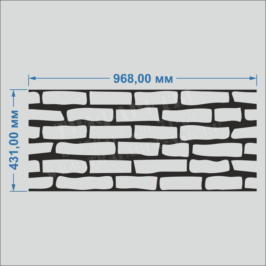 Трафарет Малый декоративный кирпич, ПЭТ 2 мм, Акрил 2 мм, лазерный рез