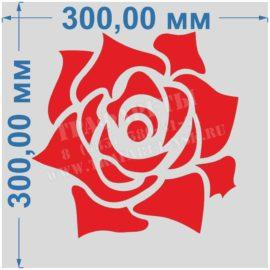 РОЗА Трафарет пластиковый 300 мм х 300 мм, лазерный рез, для объемного декорирования стен, под декоративную штукатурку!