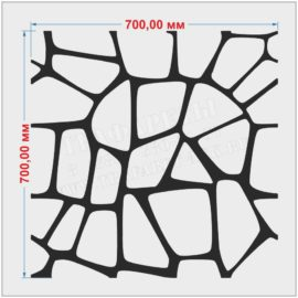 Трафарет декоративный камень 700 мм х 700 мм, ПЭТ 2 мм, Акрил 2 мм, лазерный рез